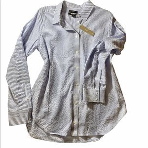 J Crew Button-Up Crinkle Gingham Shirt 10
